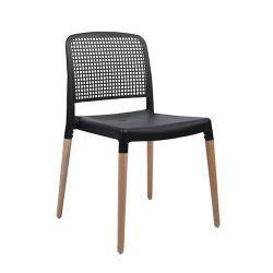 Пластиковый стул с деревянными ножками, 540x550x770 мм, черный