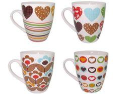 Чашка 360ml, полоски/сердечки/цветы, керамика