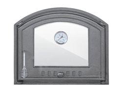 Дверца чугунная со стеклом и термометром правая DCHS4T