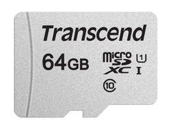 Сard de memorie Transcend MicroSD 64Gb Class 10 UHS-I +SD adapter (TS64GUSD300S-A)