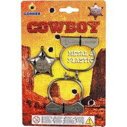 Набор ковбойский: наручники и значок, код 44089