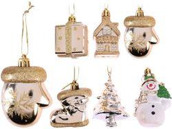 Набор украшений елочных 2X5cm, золотой, 6 дизайнов