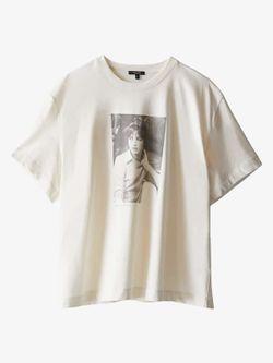 Майка Massimo Dutti Слоновая кость с принтом 6843/673/318