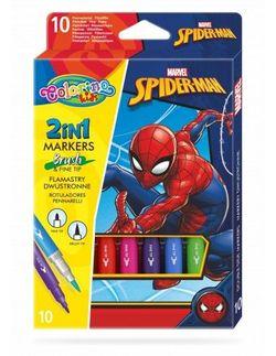 Set de carioci 2 în 1, 10 culori- Colorino Disney SpiderMan