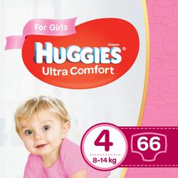 Подгузники для девочек Huggies Ultra Comfort 4 (8-14 kg), 66 шт.