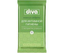 Влажные салфетки для интимной гигиены DIVA с ромашкой 20 шт