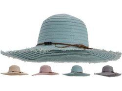 Palarie de vara pentru dame D58cm cu jartiera si margele, 4 culori