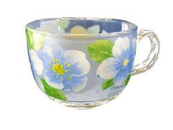Чашка для завтрака 400ml, D10.5cm, с рисунком, стеклянная