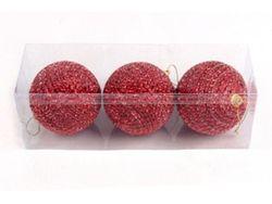 Set globuri pentru brad din margele 80mmX3buc, rosu
