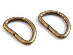 Metal D-ring width 32 mm, vintage brass