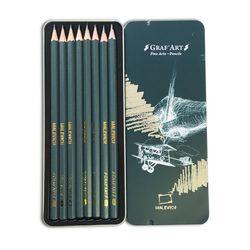 Set de creioane de cernograf. Malevich Graf'Art, cutie metalică, 8 buc