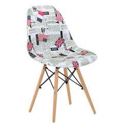 Scaun din plastic cu picioare din lemn, cu pânză tematică Londra
