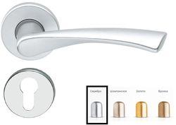Дверная ручка на розетке Milano-F1 серебро + накладка под цилиндр