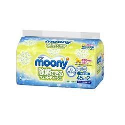 Aнтибактериальные салфетки Moony для рук, игрушек, сосок (2x45 шт)