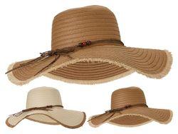 Шляпа летняя женская 42cm, одноцветная с бусинкой и бахрамой