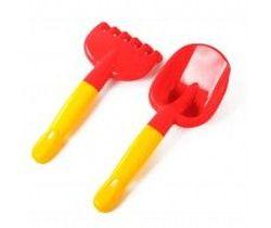 Набор лопатка и грабли, красный, код 42602