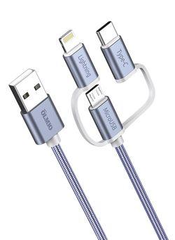 купить Кабель для моб. устройства Partner 38896 USB 2.0 - 3-в-1 microUSB/lightning/typeC 1.2м 2.1A в Кишинёве