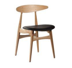 Деревянный стул с кожаным сиденьем, 630x550x970.5 мм, черный