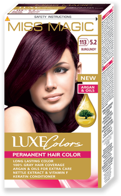 Vopsea p/u păr, SOLVEX Miss Magic Luxe Colors, 108 ml., 113 (5.2) - Burgundy