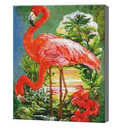 Фламинго в джунглях, 40x50 см, алмазная мозаика  QA204383