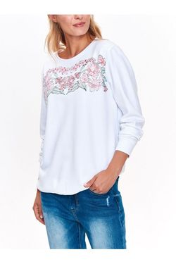 Pulover TOP SECRET Alb cu imprimeu floral SBL0643BI