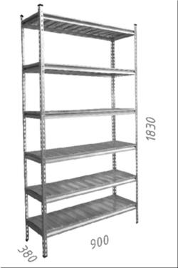 Стеллаж оцинкованный металлический Gama Box 900Wx380Dx1830 Hмм, 6 полки/МРВ