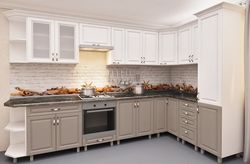 Bucătărie Bafimob Corner MDF 3.4x1.7m Cappuccino/White