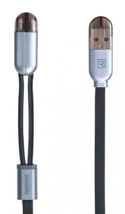 Cablu Remax Binary Lightning+Micro cable Black
