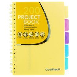 Блокнот A5 Coolpack пастельный, 200 страниц, желтый, со спиралью, математика