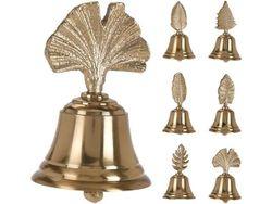 Колокольчик Листок 10X6cm, металл, золотой