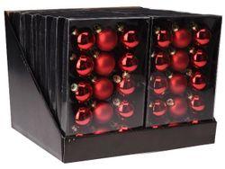 Set globuri 15X45mm, 5mate, 10lucioase, rosii, in cutie