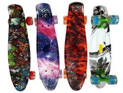 Скейтборд 55X14cm, max 75kg, светящиеся колеса, яркие цвета,
