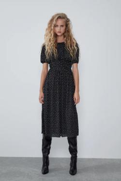 Платье ZARA Чёрный в горошек 1165/912/084