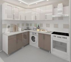 Bucătărie Bafimob Corner (High Gloss) 1.8x1.8m Cappuccino/White