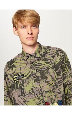 Рубашка RESERVED Серый с принтом sc016-91x