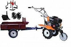 Набор мотоблок TECHNOWORKER HB 700N+Прицеп RK500 + плуг регулируемый + металлические колеса 4*8 + мотыга