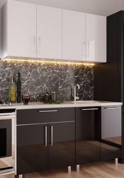 Кухонный гарнитур Bafimob Mini (High Gloss) 1.4m White/Black