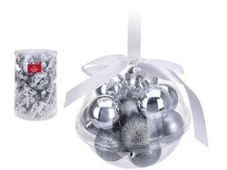 Set de globuri 14X40mm in glob сu banda, argintii, 3 modele