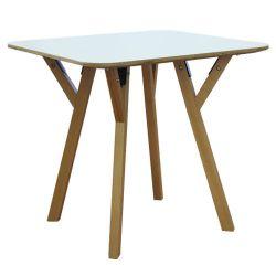 Деревянный квадратный стол с деревянными ножками и металлической подставкой 800x800x750 мм, белый