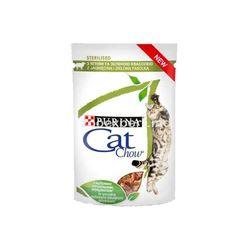 Cat Chow Sterilised кусочки в соусе с курицей и баклажанами