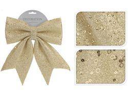 Бант декоративный 20X24сm, золотой с блетсками