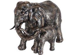 Статуэтка Слон со слоненком 35X24X17cm, керамика, темно-золо