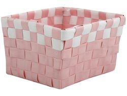 Корзина плетeнная 14X14X9cm розовая с белым, пластик