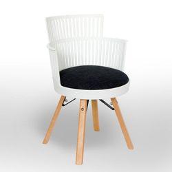 Пластиковый стул, деревянные ножки, 540x560.5x800.5 мм, белый