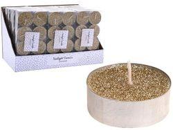 Свечи чайные c гллитером 8шт, 12g , золотой