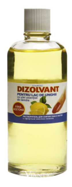 Dizolvant pentru lac de unghii  (fară acetonă) cu ulei esențial de lămâie 90ml