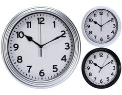 купить Часы Promstore 08684 rotund 22.3cm, H3.8cm Clasic, plastic, negru/alb в Кишинёве