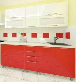 Кухонный гарнитур Bafimob Lena (High Gloss) 2.0m Top Red/Beige