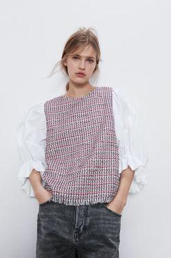 Блуза ZARA Белый/Красный 2134/721/065