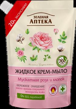 Зеленая аптека. Nutmeg trandafir și bumbac. Săpun lichid. Doy-ambalaj 460 ml